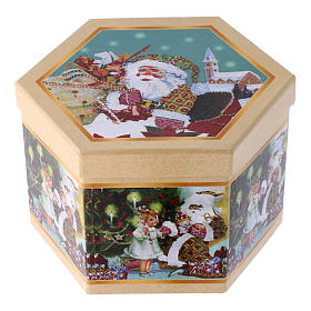 Christmas tree bauble in box with Santa Claus and children 75 mm s4