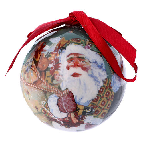 Christmas tree bauble in box with Santa Claus and children 75 mm 1