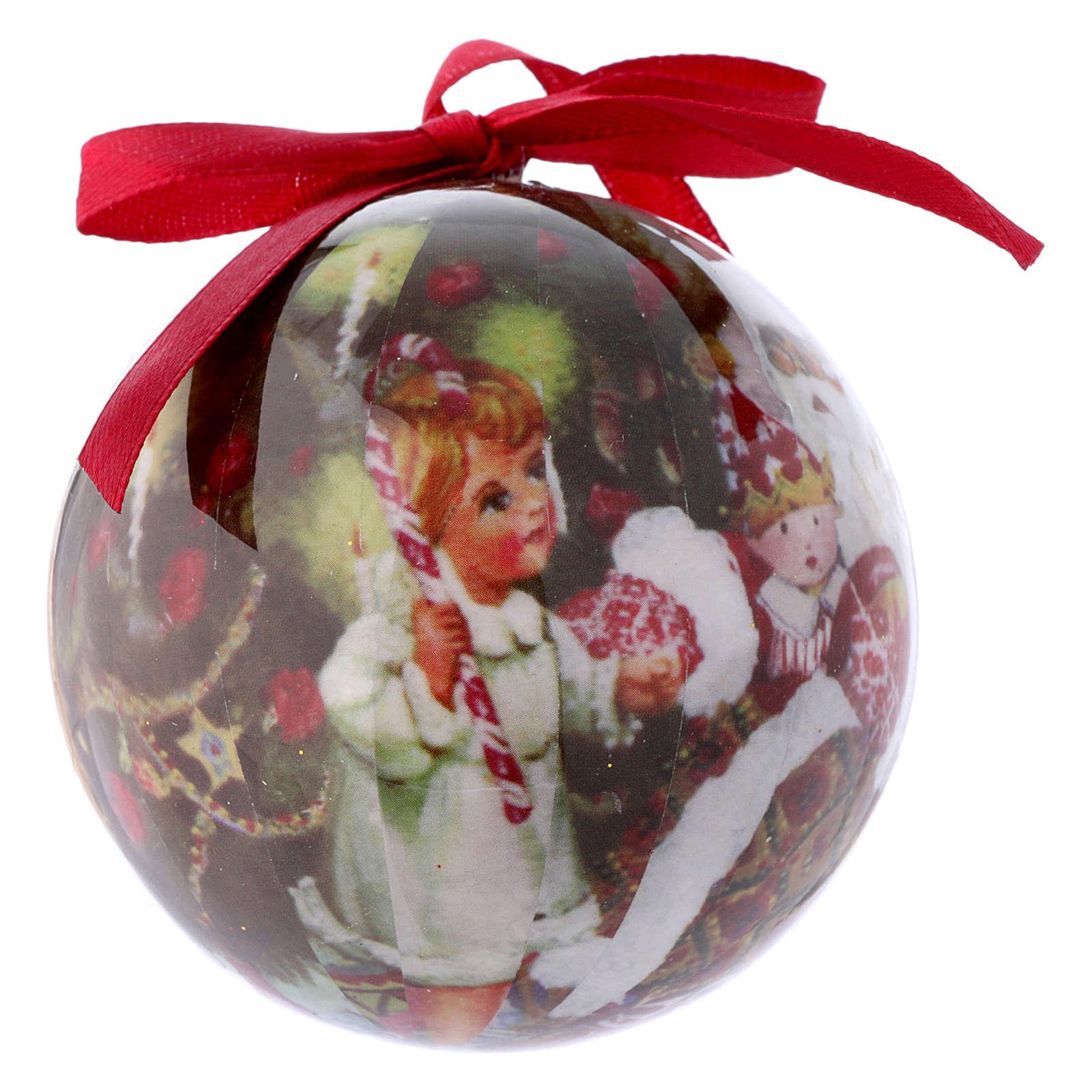 Pallina Babbo Natale e bimbi per Albero scatola 75 mm 4