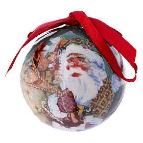 Pallina Babbo Natale e bimbi per Albero scatola 75 mm s1