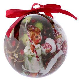 Pallina Babbo Natale e bimbi per Albero scatola 75 mm s2