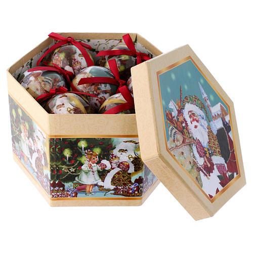 Pallina Babbo Natale e bimbi per Albero scatola 75 mm 3