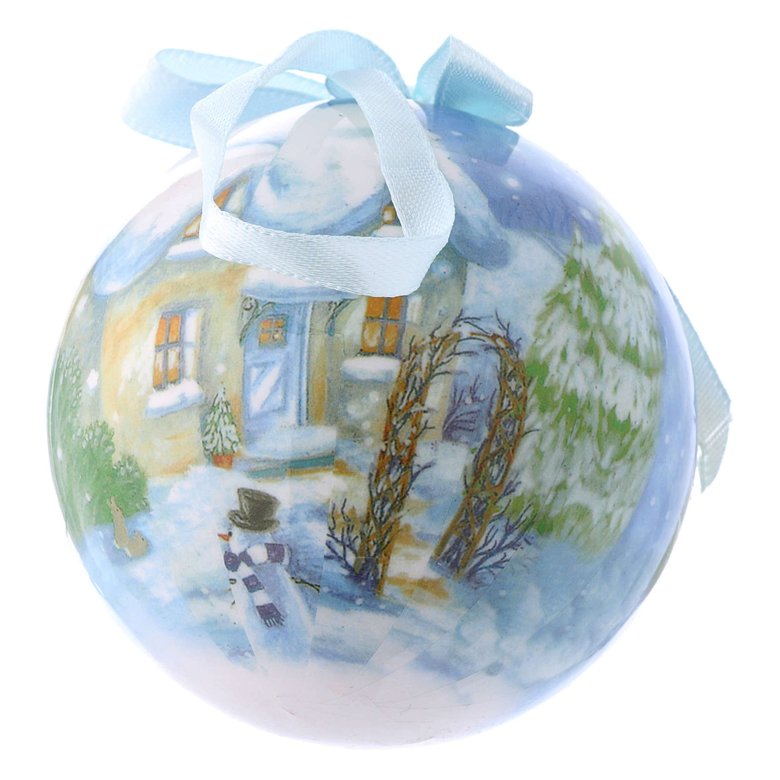 Christmas tree bauble in box with landscape 75 mm 4