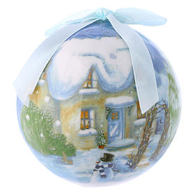 Christmas balls: Christmas tree bauble in box with landscape 75 mm