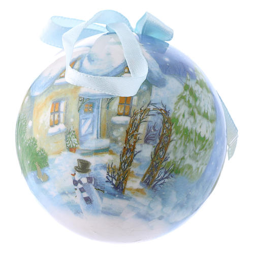 Christmas tree bauble in box with landscape 75 mm 2