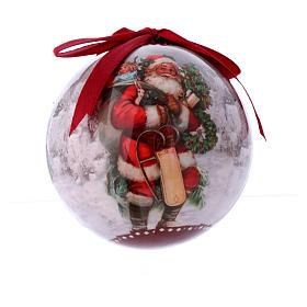 Pallina per Albero 75 mm immagine Babbo Natale s1