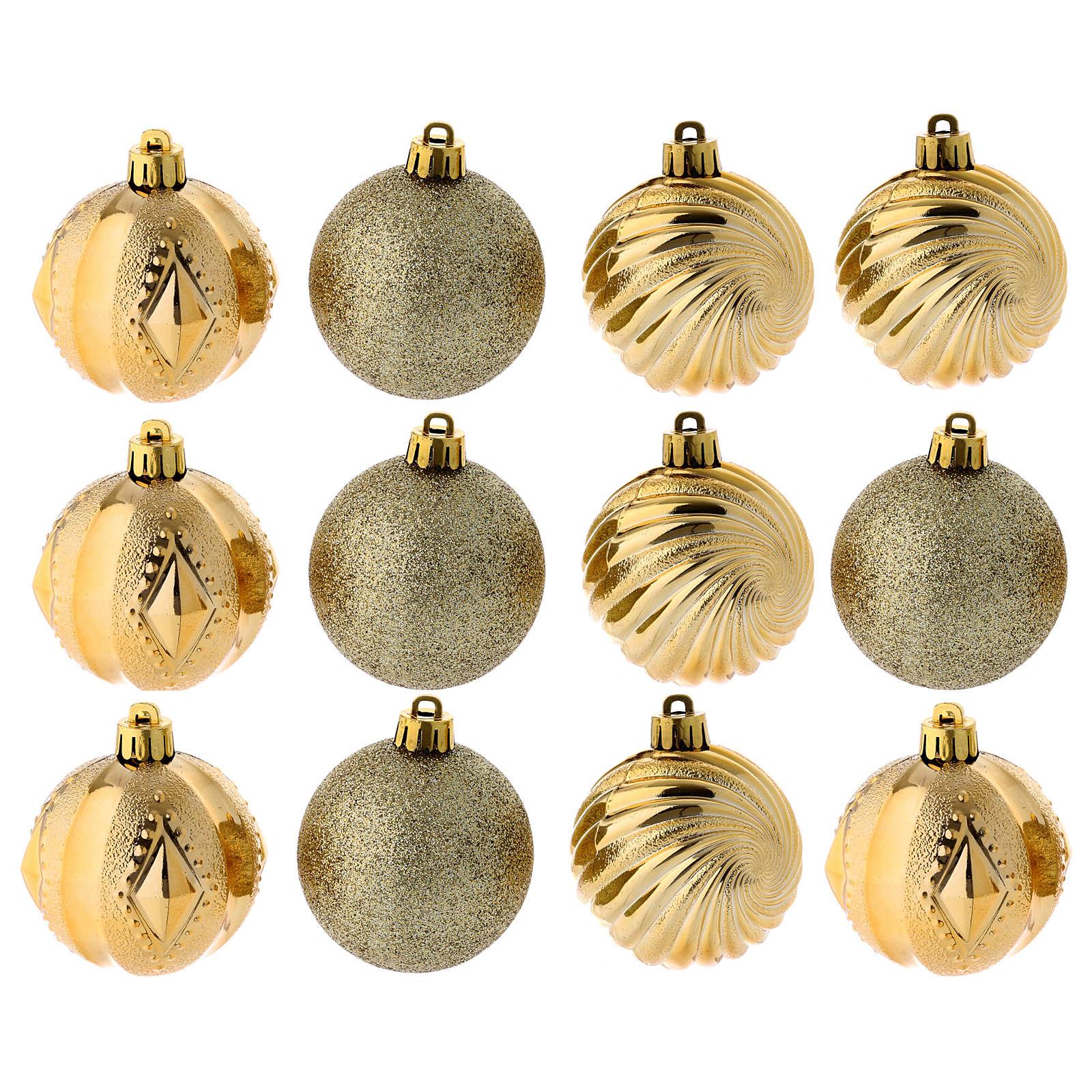 Bola Árbol Navidad oro 60 mm 12 piezas 4