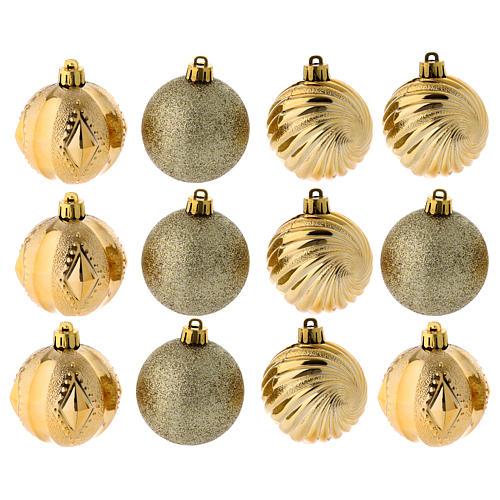 Bola Árbol Navidad oro 60 mm 12 piezas 1