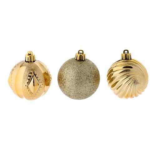 Bola Árbol Navidad oro 60 mm 12 piezas 2