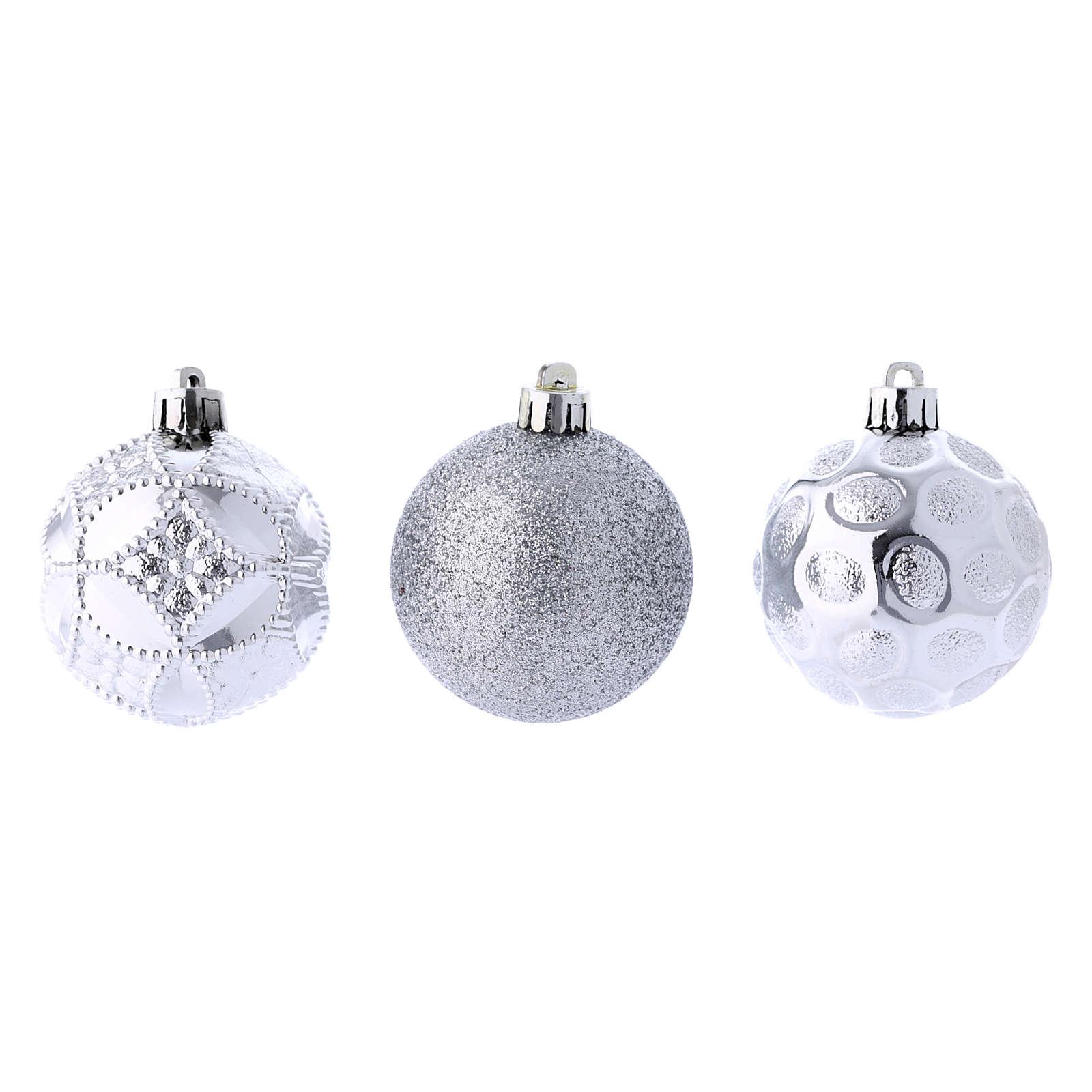 Boules Sapin Noël argent 60 mm (vendu par 12) 4