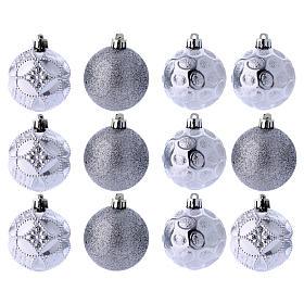 Boules Sapin Noël argent 60 mm (vendu par 12) s1