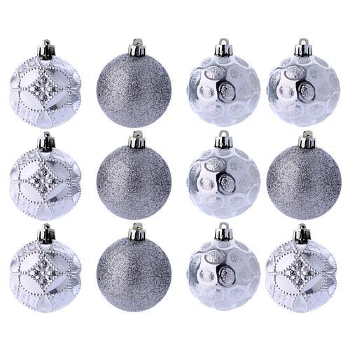 Boules Sapin Noël argent 60 mm (vendu par 12) 1