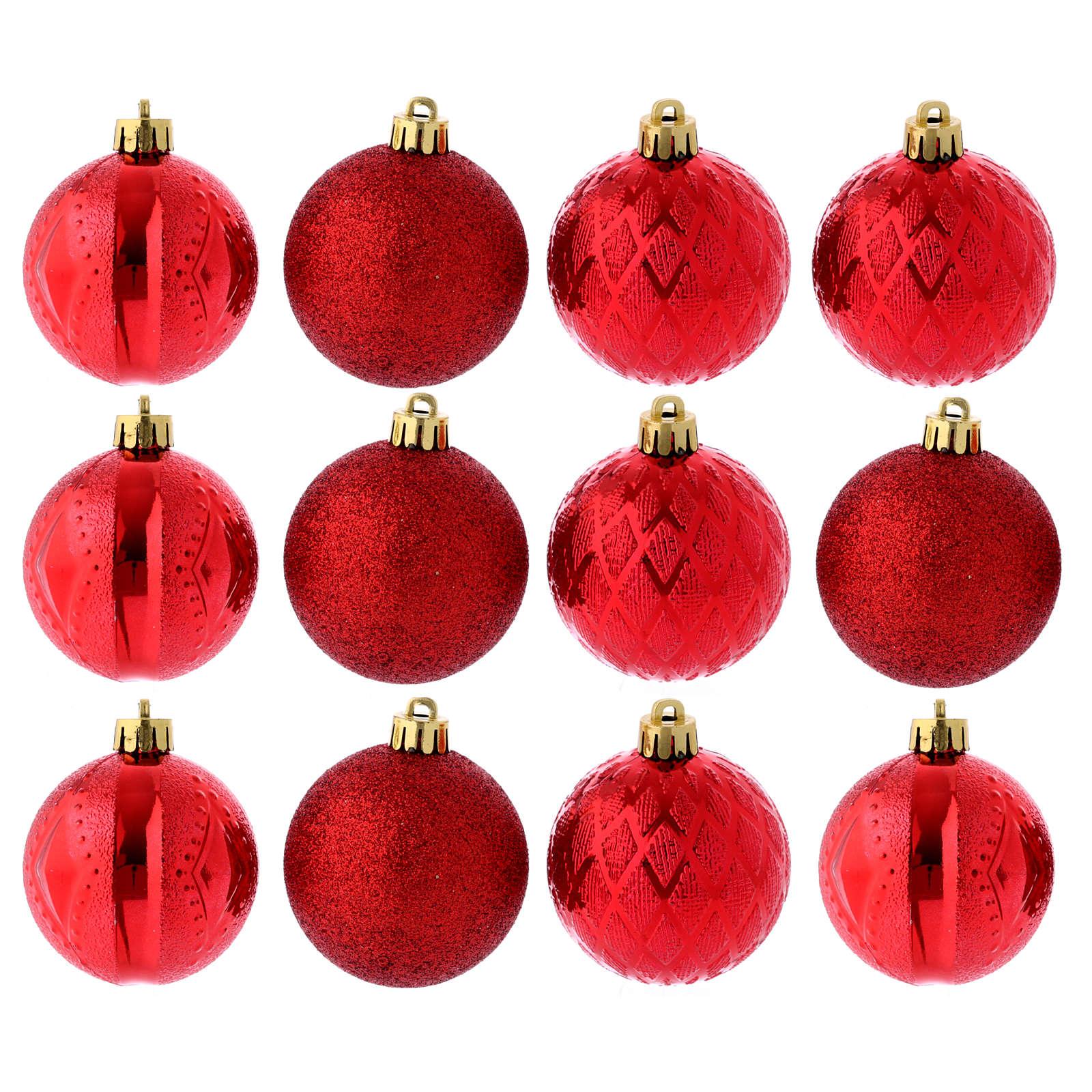 Boules Sapin Noël 60 mm rouges (vendu par 12) 4