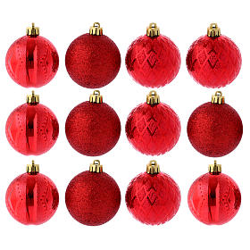 Boules Sapin Noël 60 mm rouges (vendu par 12) s1