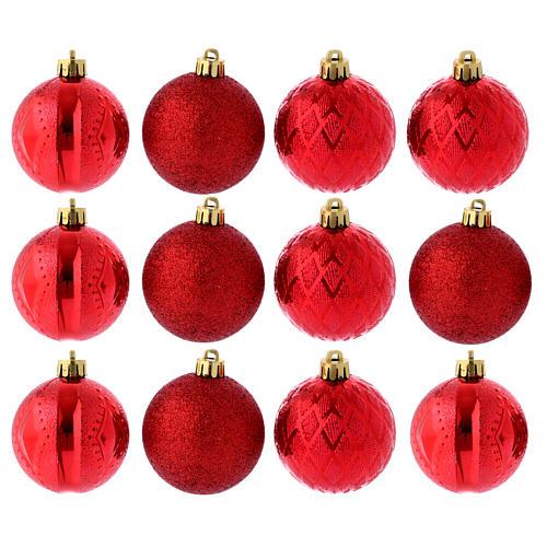 Boules Sapin Noël 60 mm rouges (vendu par 12) 1