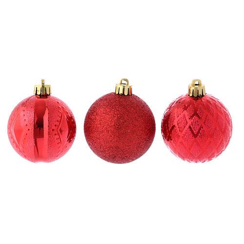 Boules Sapin Noël 60 mm rouges (vendu par 12) 2
