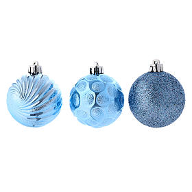 Boules Sapin Noël bleu 60 mm (vendu par 12) s3