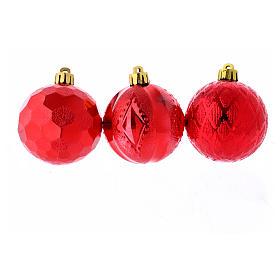 Palline Natale rosse 3 pz (confezione) 60 mm s2