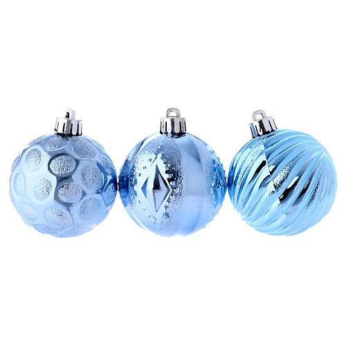 Boule Noël bleu clair 60 mm (vendu par 3) 2
