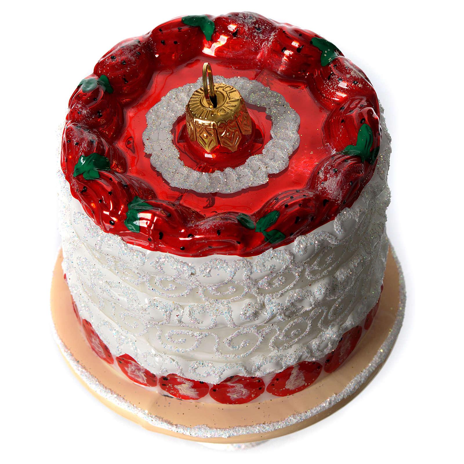 Torta di fragole addobbo vetro soffiato Albero Natale 4