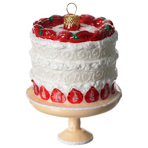 Torta di fragole addobbo vetro soffiato Albero Natale 1