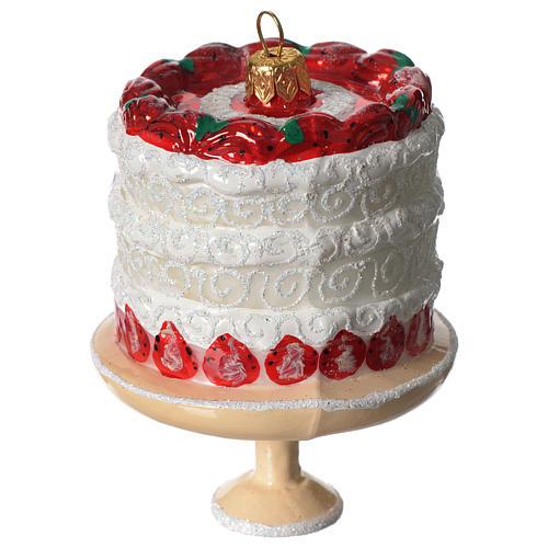 Torta di fragole addobbo vetro soffiato Albero Natale 3