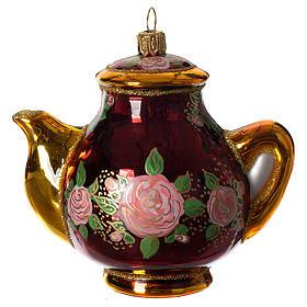 Christbaumschmuck aus mundgeblasenen Glas: Teekanne mundgeblasenen Glas für Tannenbaum