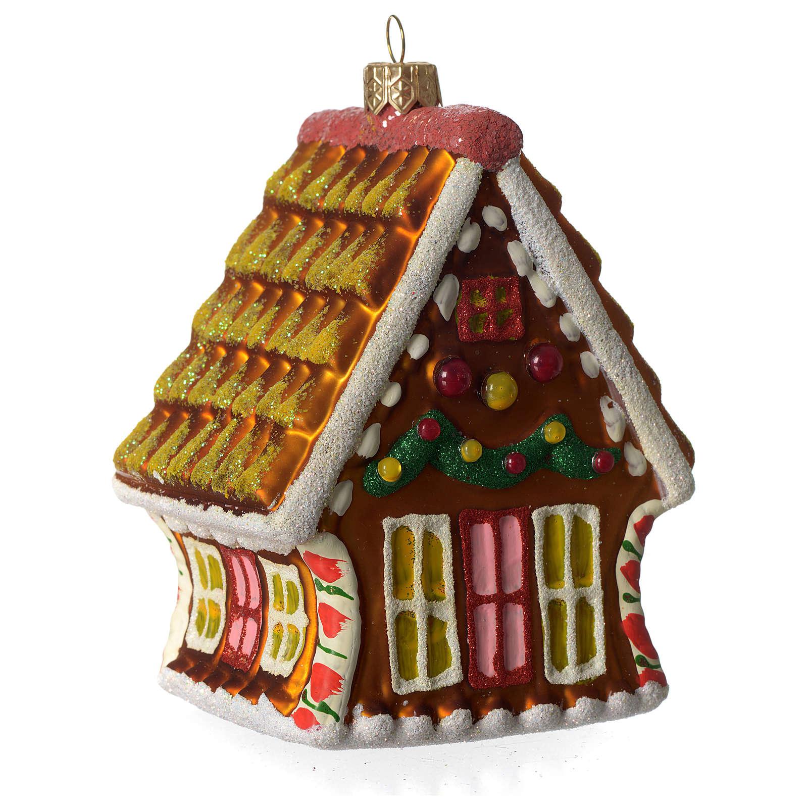 Casa de Pan de Jengibre adorno vidrio soplado Árbol Navidad 4