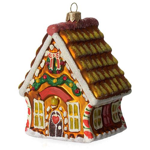 Casa de Pan de Jengibre adorno vidrio soplado Árbol Navidad 1