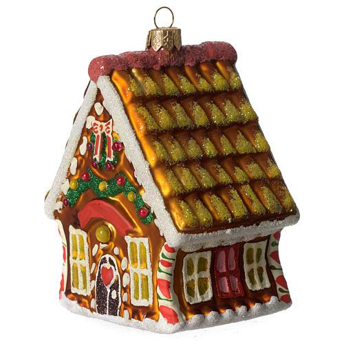 Casa de Pan de Jengibre adorno vidrio soplado Árbol Navidad 3