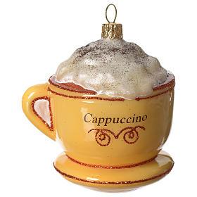 Cappuccino addobbo vetro soffiato Albero Natale s1