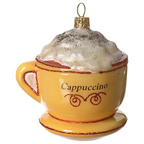 Cappuccino Cup blown glass Christmas tree decoration s1