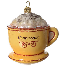 Cappuccino Cup blown glass Christmas tree decoration s2