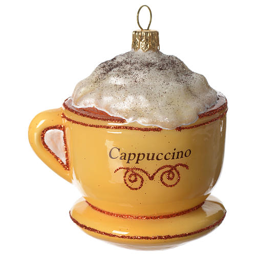 Cappuccino Cup blown glass Christmas tree decoration 1