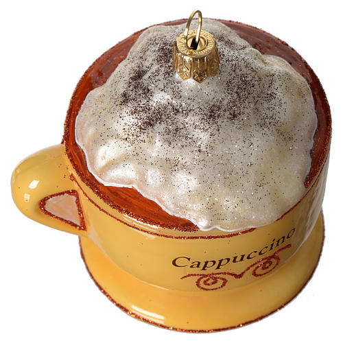 Cappuccino Cup blown glass Christmas tree decoration 3