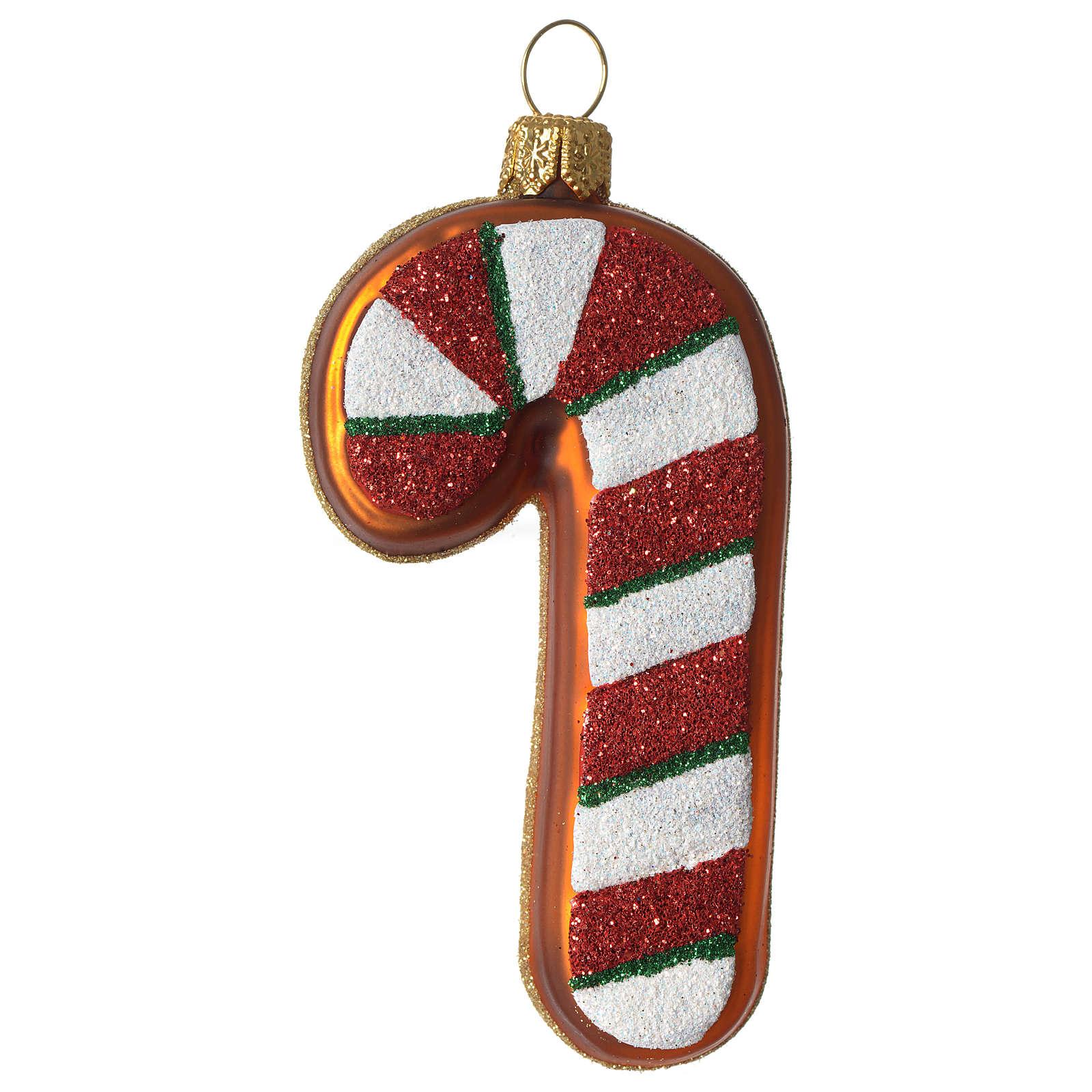 Bastón de caramelo adorno vidrio soplado Árbol Navidad 4