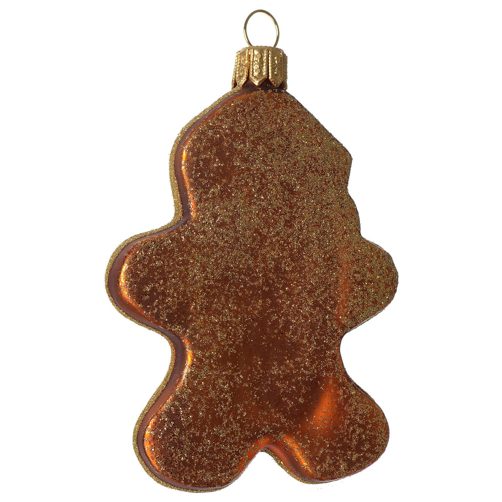 Père Noël en pain d'épices décoration verre soufflé Sapin Noël 4