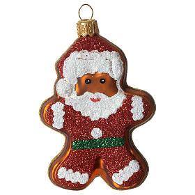 Père Noël en pain d'épices décoration verre soufflé Sapin Noël s1