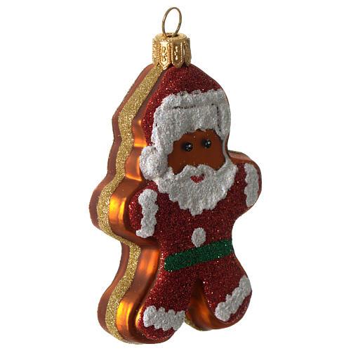 Père Noël en pain d'épices décoration verre soufflé Sapin Noël 2