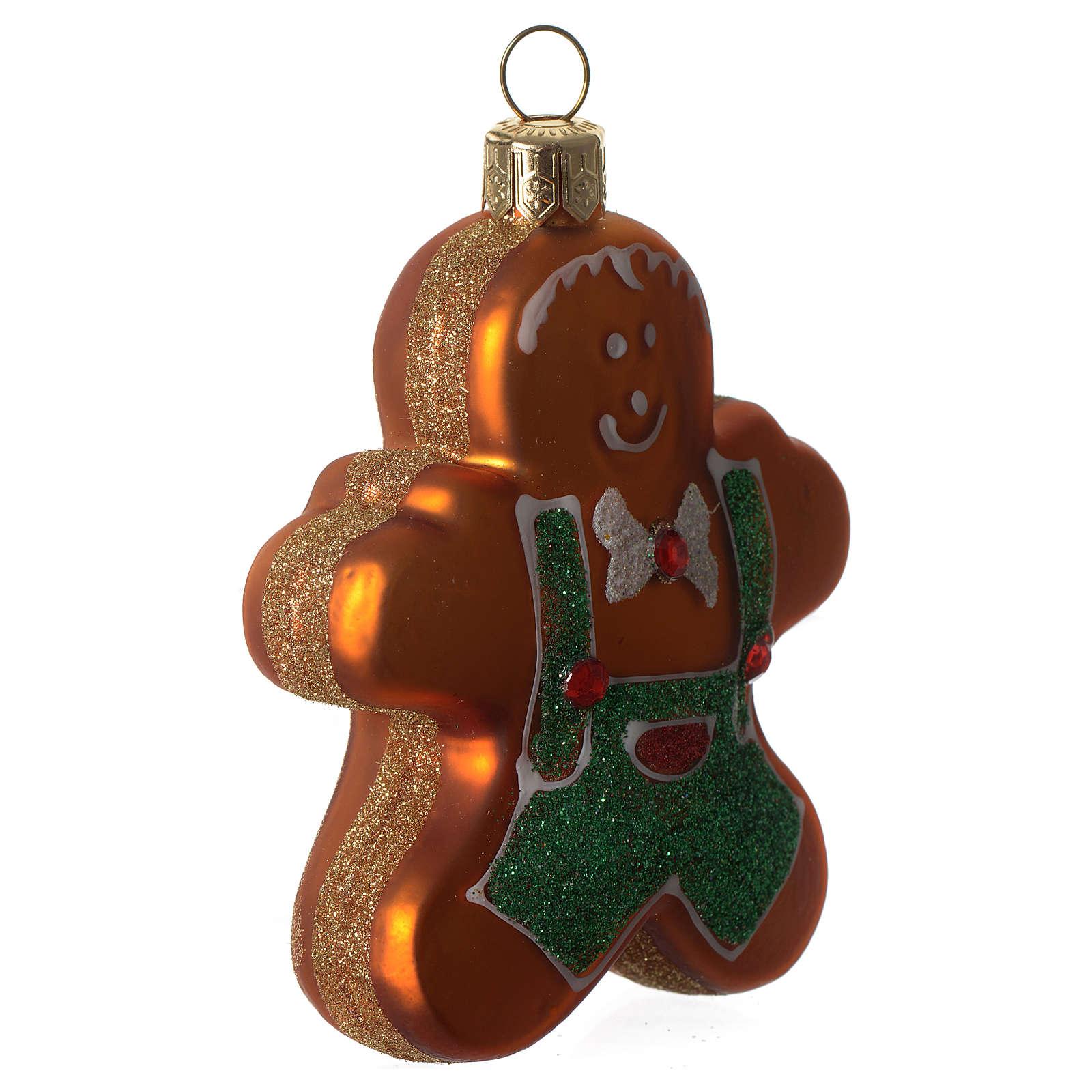 Hombre de Pan de Jengibre adorno vidrio soplado Árbol Navidad 4
