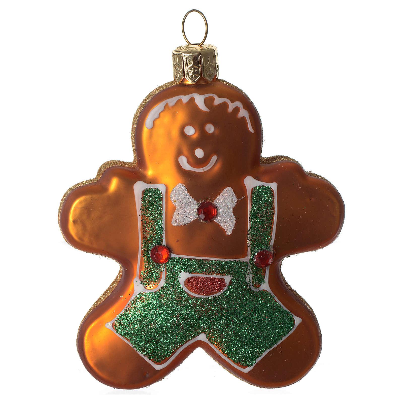 Boneco pão de mel adorno árvore Natal vidro soprado 4
