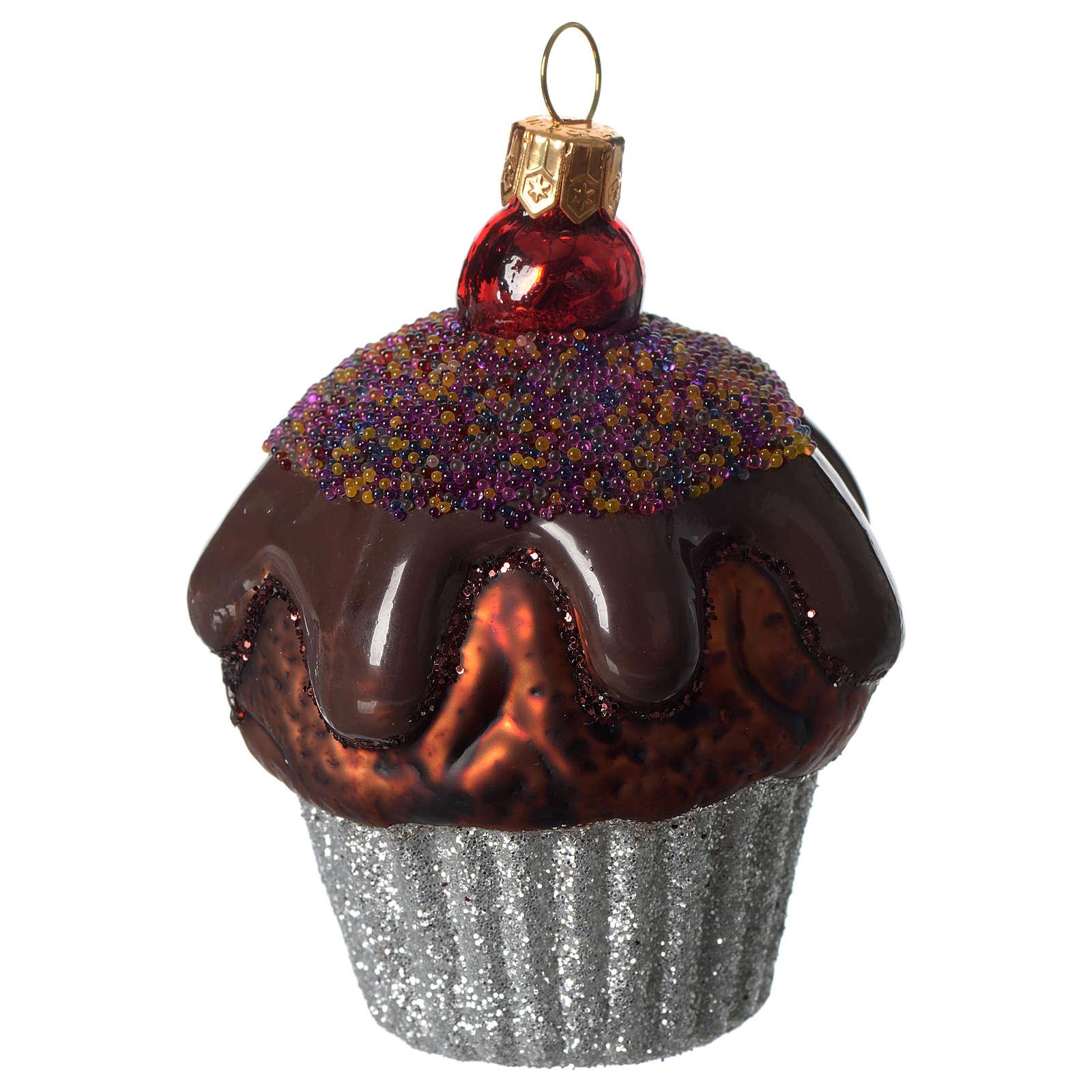 Muffin de chocolate adorno vidrio soplado Árbol Navidad 4
