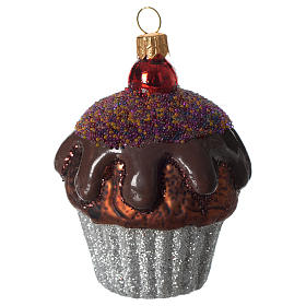 Muffin de chocolate adorno vidrio soplado Árbol Navidad s1