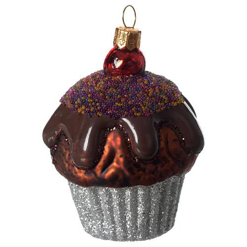 Muffin de chocolate adorno vidrio soplado Árbol Navidad 2