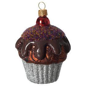 Muffin al cioccolato addobbo vetro soffiato Albero Natale s1