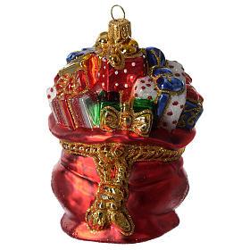 Décorations sapin verre soufflé: Sac de Père Noël décoration verre soufflé Sapin Noël