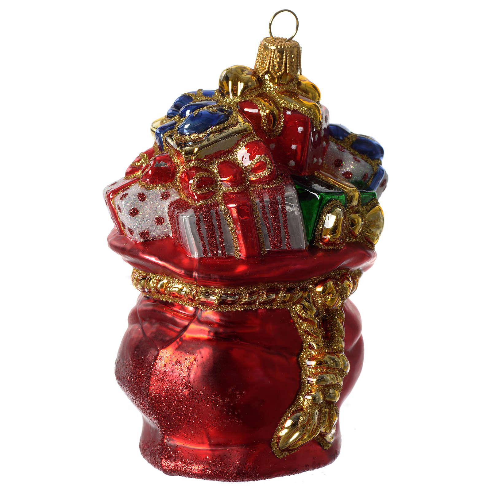 Sacco di Babbo Natale addobbo vetro soffiato Albero Natale 4