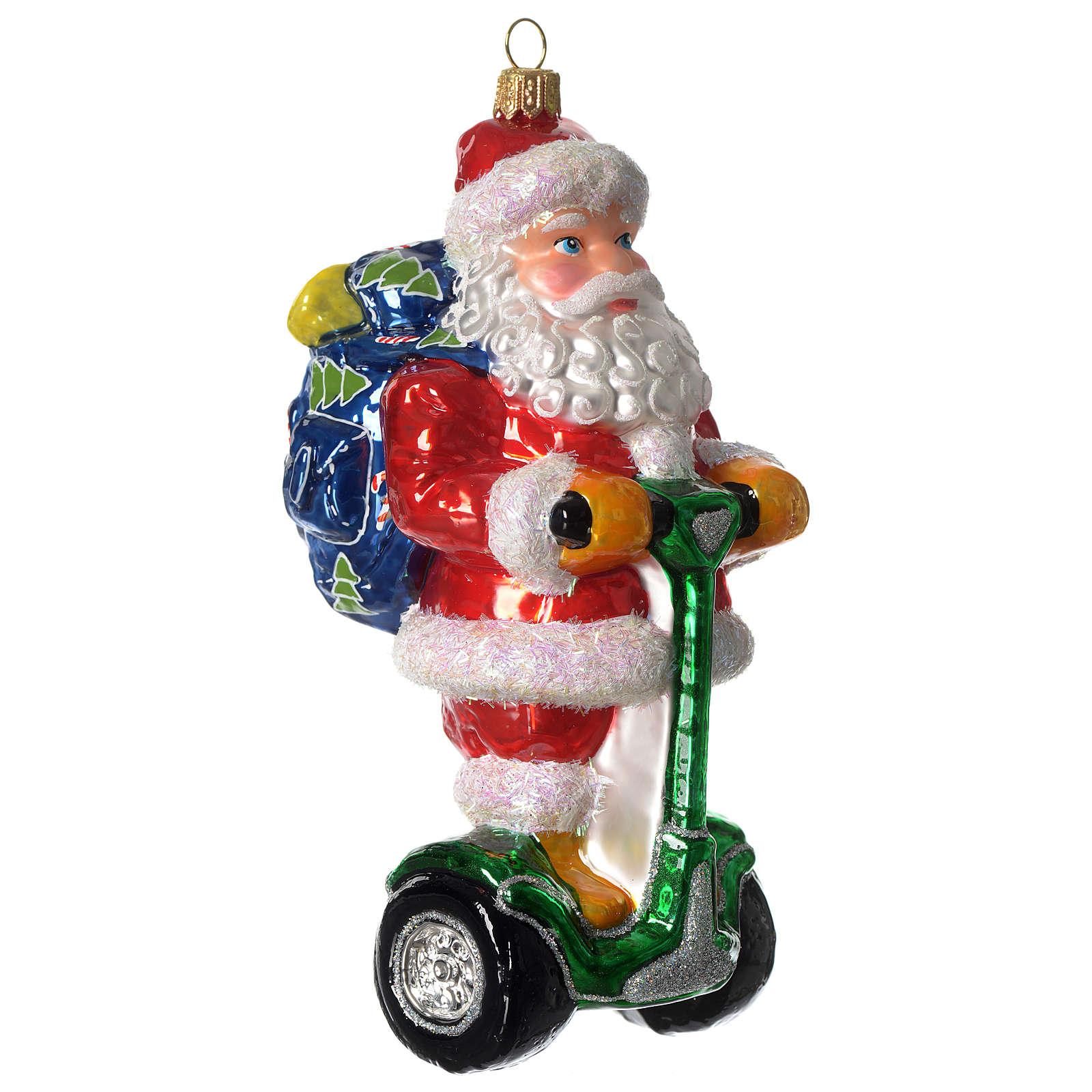 Babbo Natale su Segway addobbo vetro soffiato Albero Natale 4