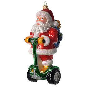 Babbo Natale su Segway addobbo vetro soffiato Albero Natale s1