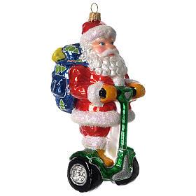 Babbo Natale su Segway addobbo vetro soffiato Albero Natale s2